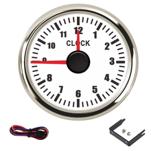 12 Hours Red Pointer Type Clock Gauge  52mm Car Boat Clock Meters Hourmeters & Red Backlight