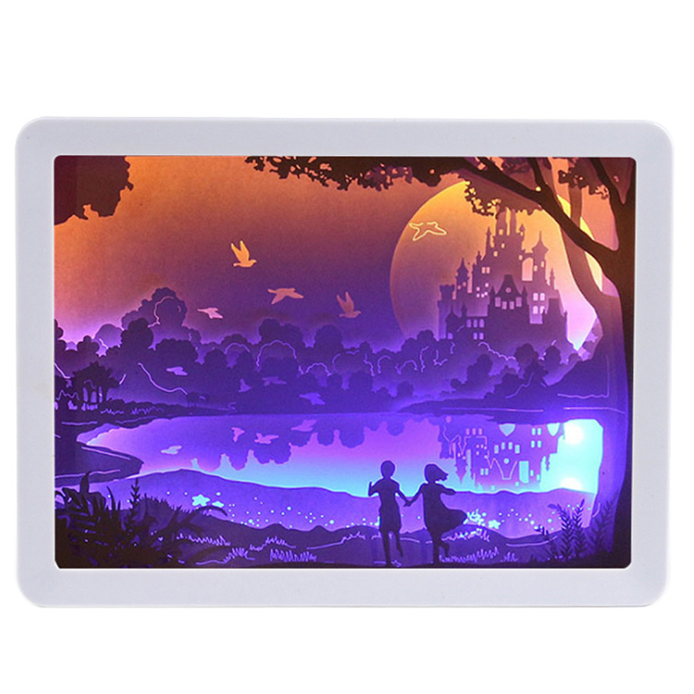 3D Night Lamp Paper Pattern Painting LED Table Shadow Box Frame Party Home Decor LAD-sale