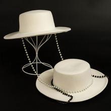 Шерстяная шляпа с широкими полями элегантная длинная шапка чёрным