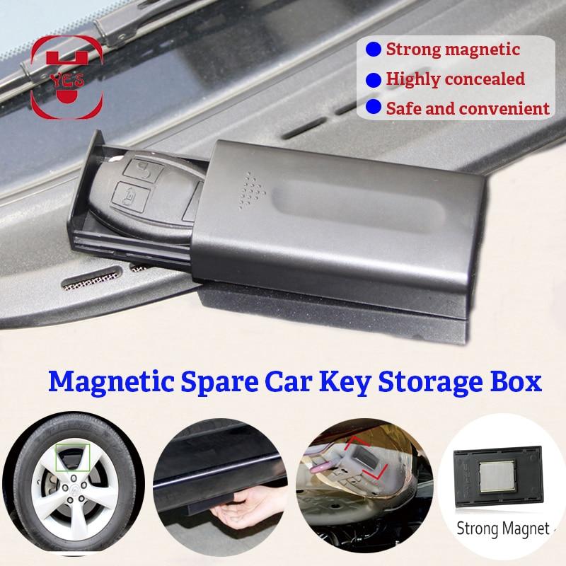Portable Hidden Magnetic Car Key Safe Box Key Spare Lock Holder Box Magnet Outdoor Stash For Home Office Car Truck Secret Box