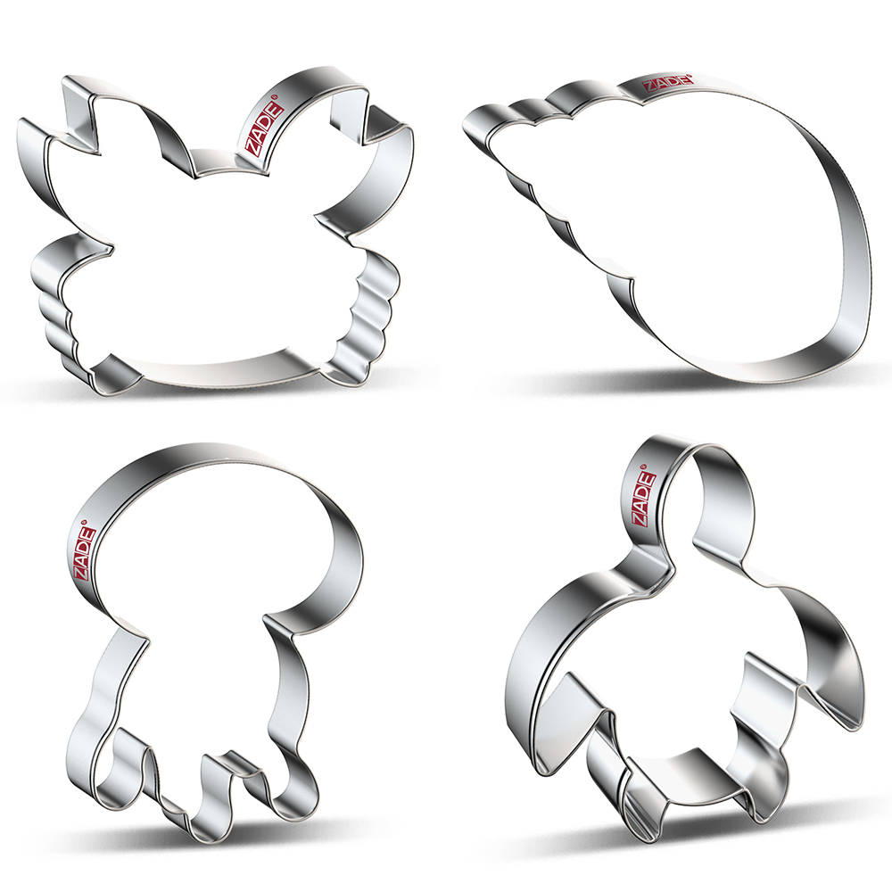 ZADE Beach Marine Organism  Cookie Cutter Crab,Jellyfish,Turtles,Biscuit / Fondant / Bread / Pastry Cutters - Stainless Steel