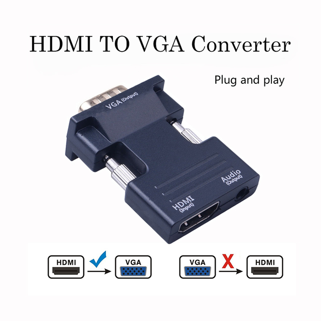 Female HDMI to Male VGA Converter with Audio Adapter Support 1080P Signal Output for Multimedia
