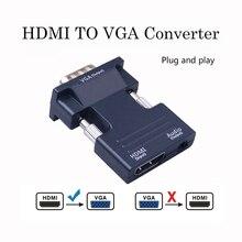 หญิง HDMI TO VGA Converter พร้อมอะแดปเตอร์เสียงสนับสนุน 1080P สำหรับมัลติมีเดีย