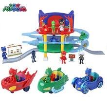 Pj máscara personagem dos desenhos animados pvc pj máscara catboy owlgilrs gekko simulação parque de estacionamento conjunto de brinquedos de aniversário presente de natal das crianças