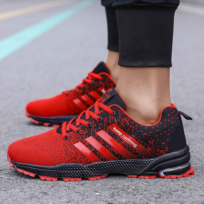 Image 4 - Big Size Green Breathable Cheap Running Shoes Men Flyknit Red Outdoor Marathon Sneakers Lightweight Keep Running Men Sport ShoesRunning Shoes   -