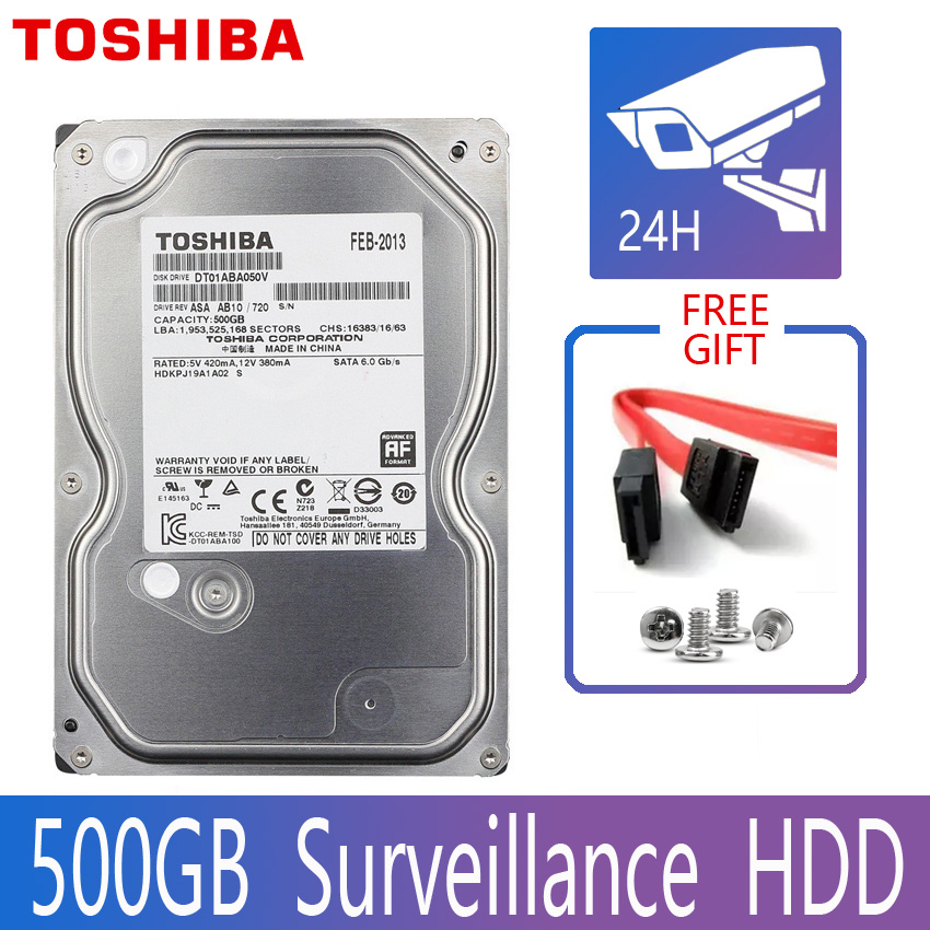TOSHIBA 500GB Video gözetim sabit Disk Disk DVR NVR CCTV monitör HD HD dahili SATA III 6 Gb/s 5700RPM 32MB 3.5