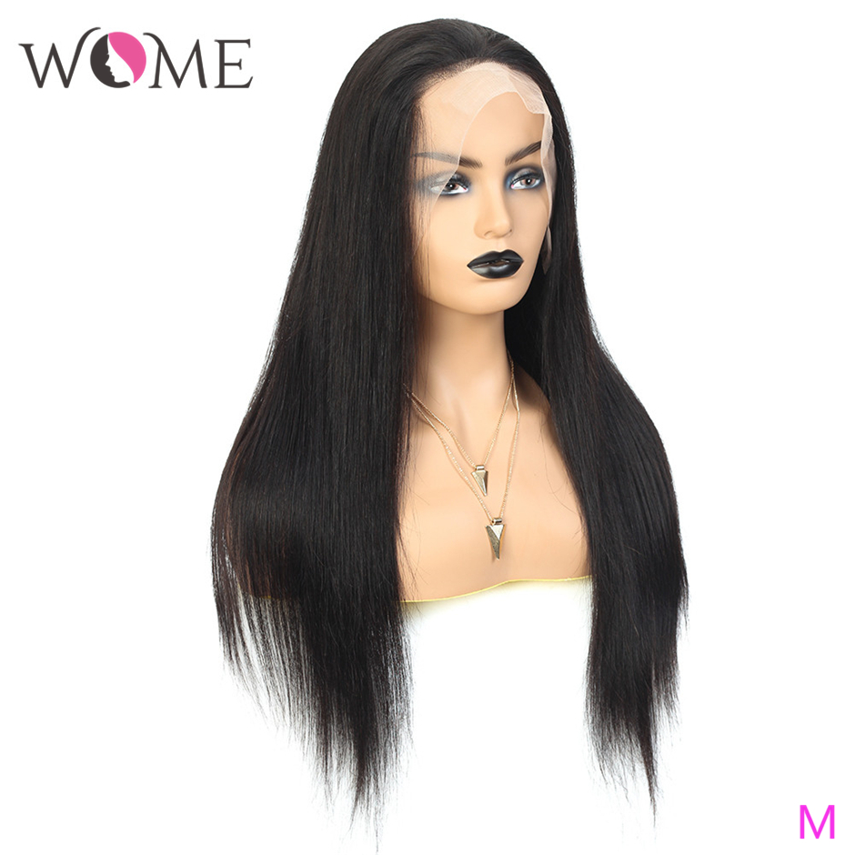 """WOME, 360, парики из натуральных волос на кружевной основе, бразильские прямые волосы, парики из натуральных волос, 8 """"-26"""", 150% волосы remy, 360 парики"""