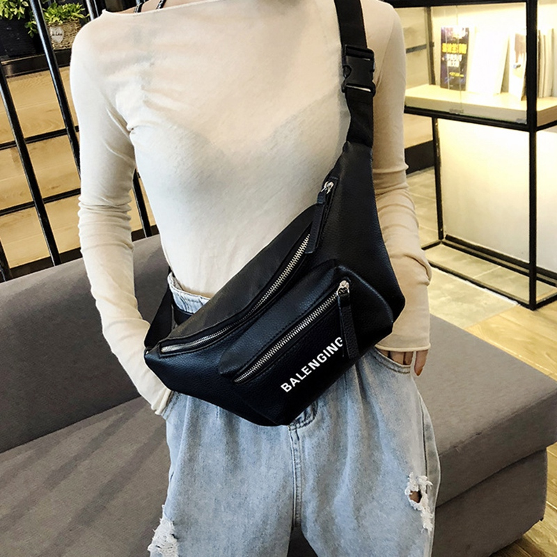 Waist Bag Women Super Capacity Messenger Bag Waist Packs Personal Anti-Theft Chest Pack Fanny Pack PU Banana Bags