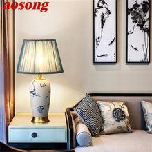 Aosong Керамические настольные лампы синий латунный роскошный