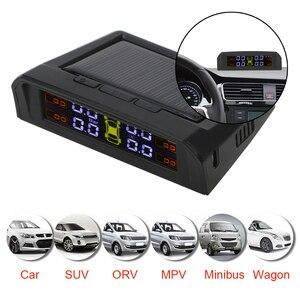 Image 3 - TPMS araba lastik BASINÇ SENSÖRLERİ HD dijital LCD ekran lastik basınç alarmı izleme sistemi otomatik Alarm USB veya güneş şarj