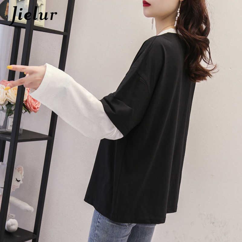 Jielur футболка с длинными рукавами женская футболка с круглым вырезом Топы 2019 Новая Осенняя блуза со вставкой с отверстиями для печати Chicly Slim Harajuku m-xxl