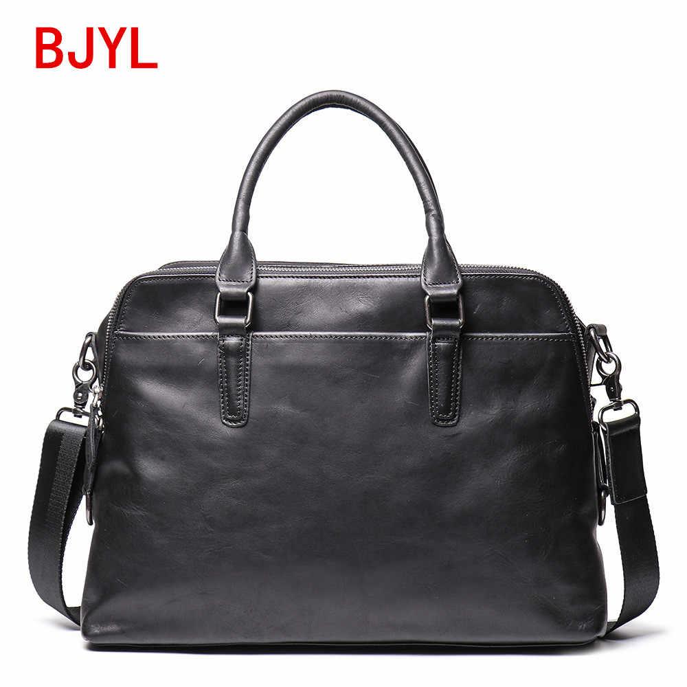 Soft Black Leather Handbag Men Portable