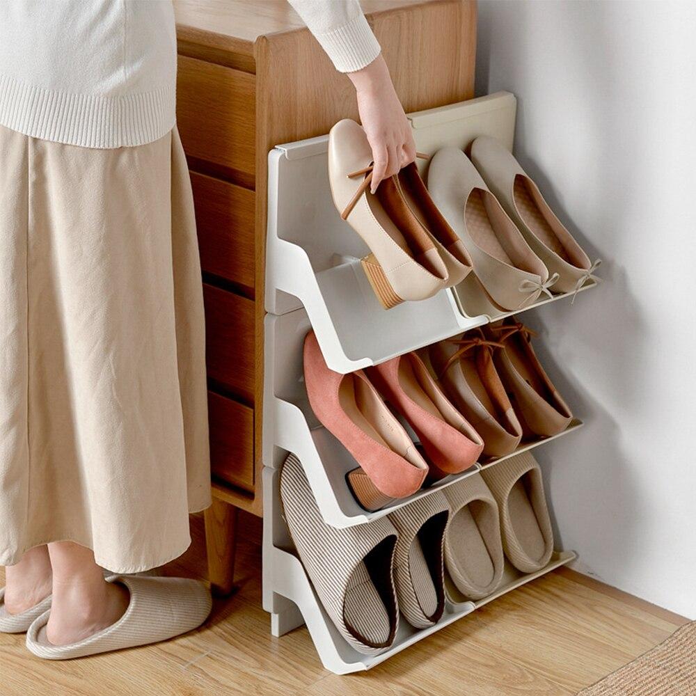 2 adet/6 adet Modern çok katmanlı montaj ayakkabı raf organizatör standı basit oturma odası kombinasyonu ayakkabı depolama raf alanı tasarrufu|Ayakkabı Rafları ve Organizatörleri|Ev ve Bahçe - title=