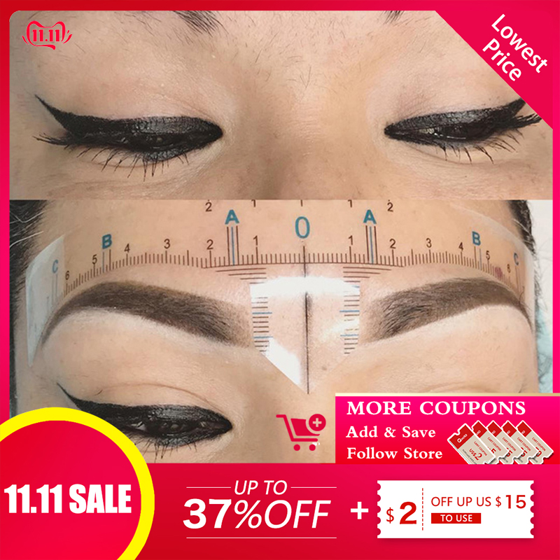 20Pcs Disposable Permanent Tattoo Sticker Ruler Permanent Makeup Microblading Tools 3D Eyebrow Shaping For Tattooing Accessories