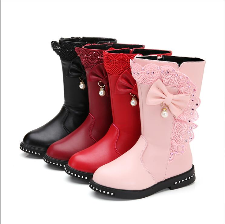 Winter New Black Kids Boots Girls Boots Children High Bow Tie Shoes Girls Pincess Dress Boots Big Kids Shoes Size 27-37