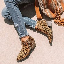 Women Ankle Boots Leopard Print Ankle Boots Square Heel Fash