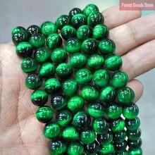 Collier en pierre naturelle lisse, Agates en œil de tigre vert, perles rondes, pour bricolage, 15 pouces, 6 8 10 12MM, pour la fabrication de bijoux