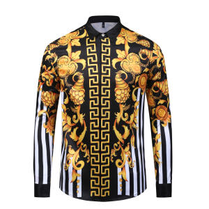 Shirt Casual Chemise Slim-Fit Long-Sleeve Golden-Pattern Fashion Men High-Quality Print