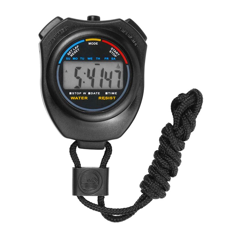 Digital Handheld Professional Electronic Chronograph Sports Stopwatch Timer Stop Watch Display Great For Sports Coaches (Black)