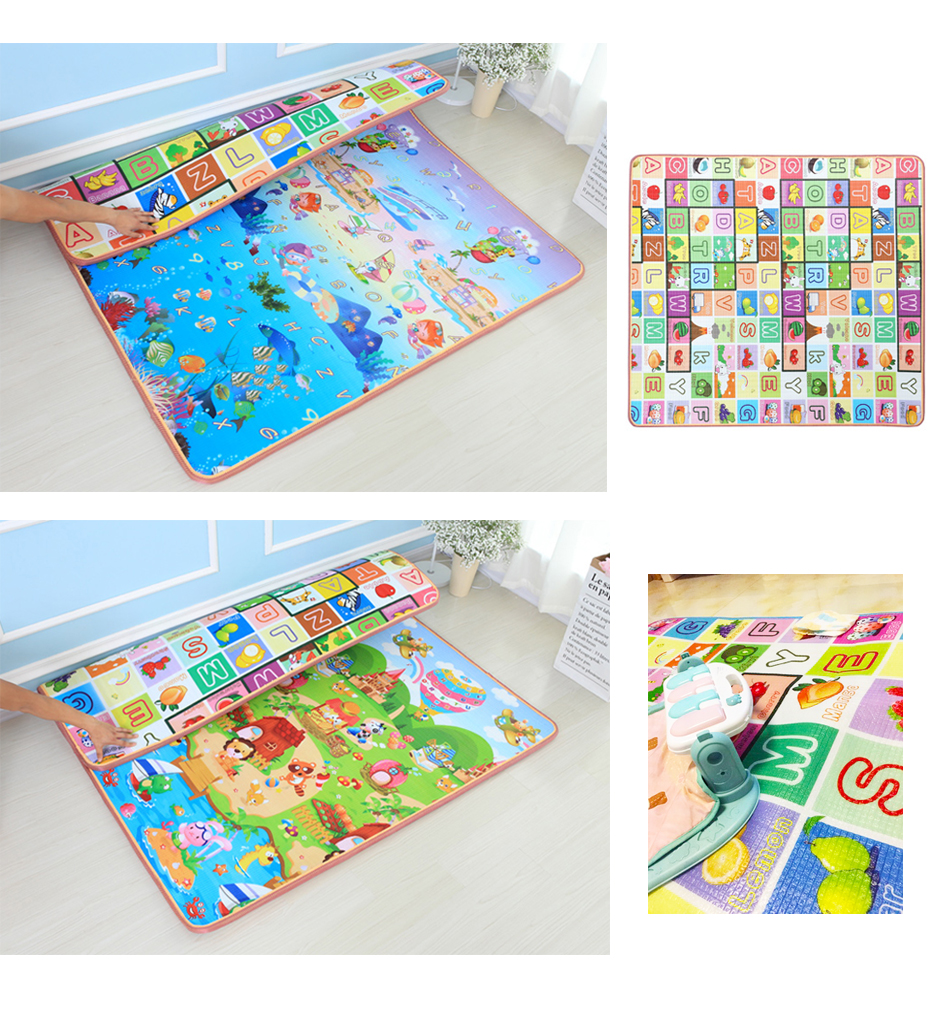 Hc29dd0ded7f64c55889a99c5faf275159 Baby Play Mat 0.5cm Thick Foldable Crawling Mat Double Surface Baby Carpet Rug Cartoon Developing Mat for Children Game Playmat
