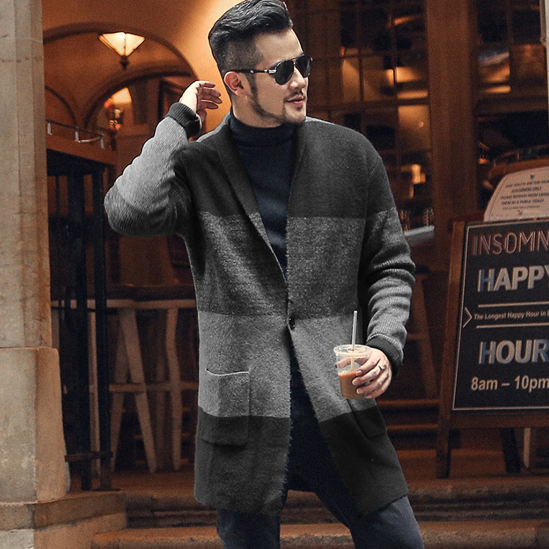 Men Casual Woolen Warm Knitted Cardigan Autumn Winter New Thickening Color Matching European Style Long Cardigan For Men J786