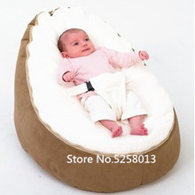 Bed Beanbag Grey-Base Baby-Seat Lazy-Couch Feeding-Recliner with White Tops Furniture