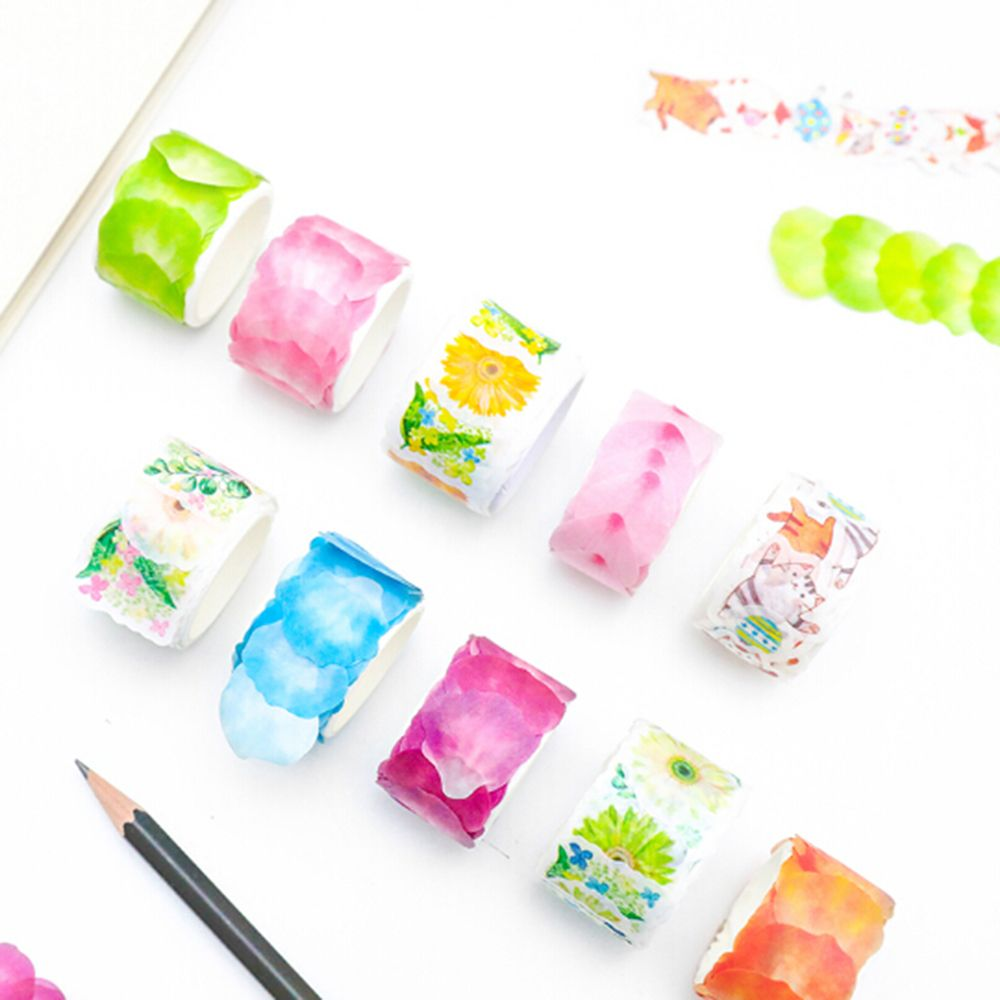 Creative Watercolor Sakura Petal Washi Tape Adhesive Tape DIY Decoration Scrapbooking Sticker Stationery Office Accessorie