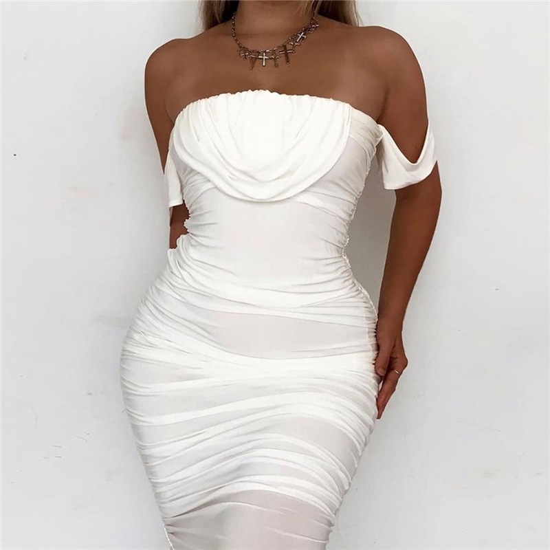 mesh ruched midi dress11