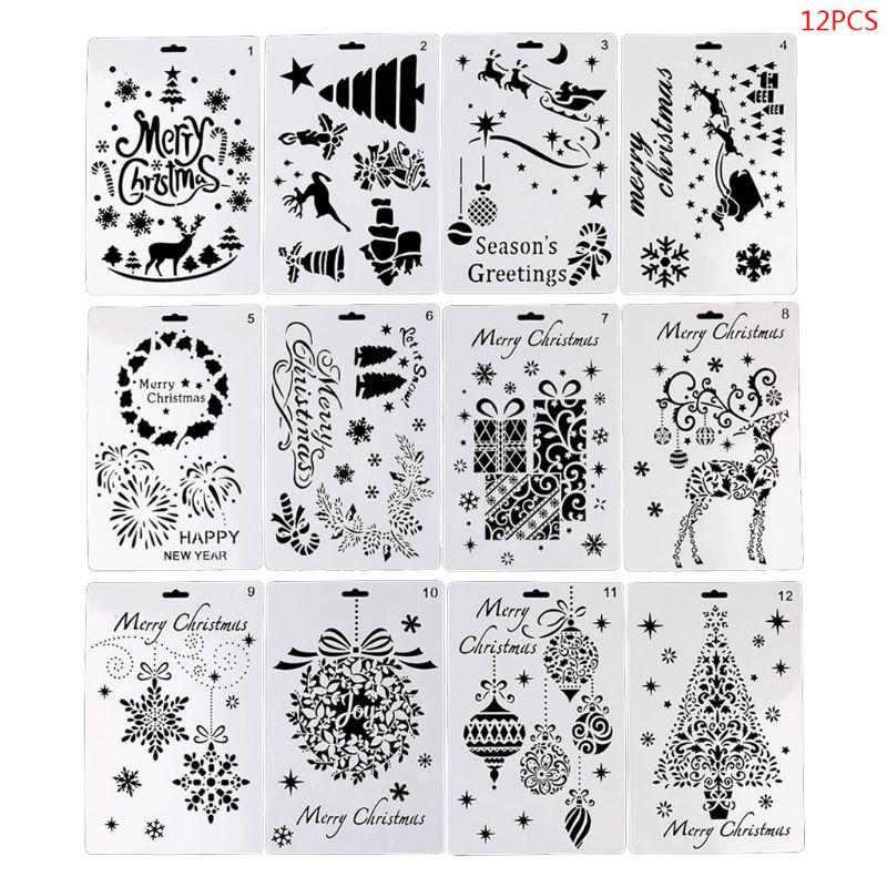 OOTDTY 12 шт./компл. Рождественский Рисунок шаблонная линейка трафарет доска для рисования DIY альбом для творчества