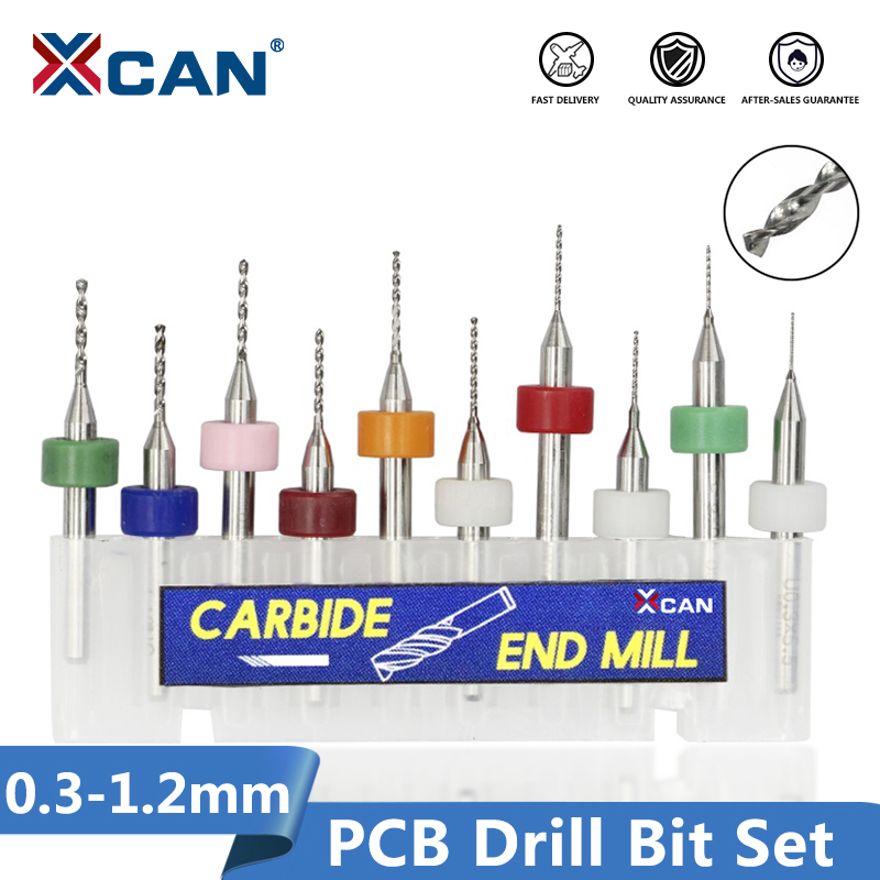 XCAN 10pcs/set 0.3mm To 1.2mm PCB Mini Drill Bit Tungsten Steel Carbide For Print Circuit Board Cnc Drill Bits Machine