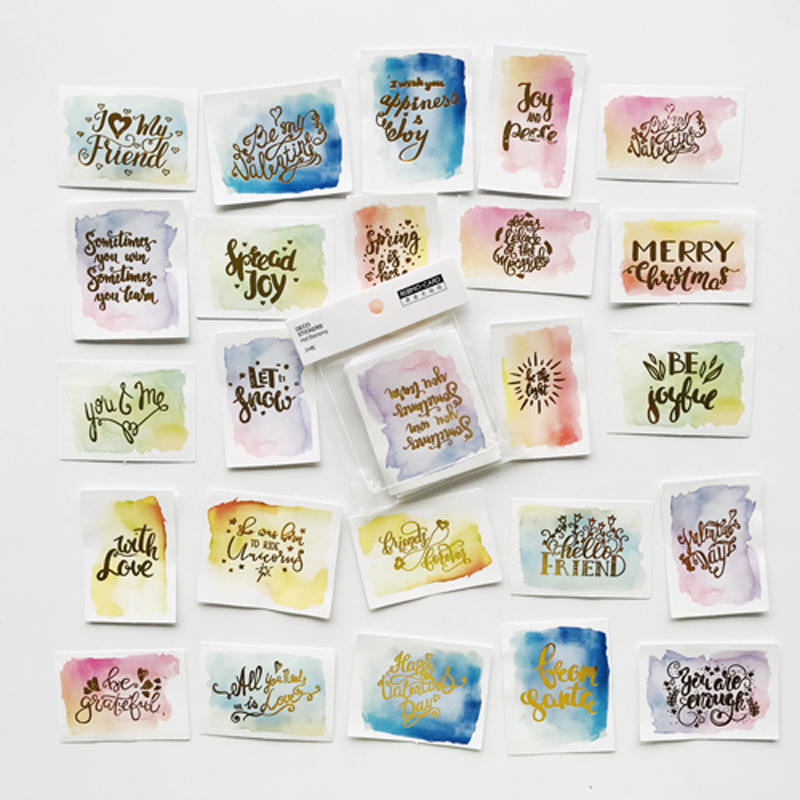 24 Sheets /Bag Gradient English Wishes Letters DIY Adhesive Decorative Sticker