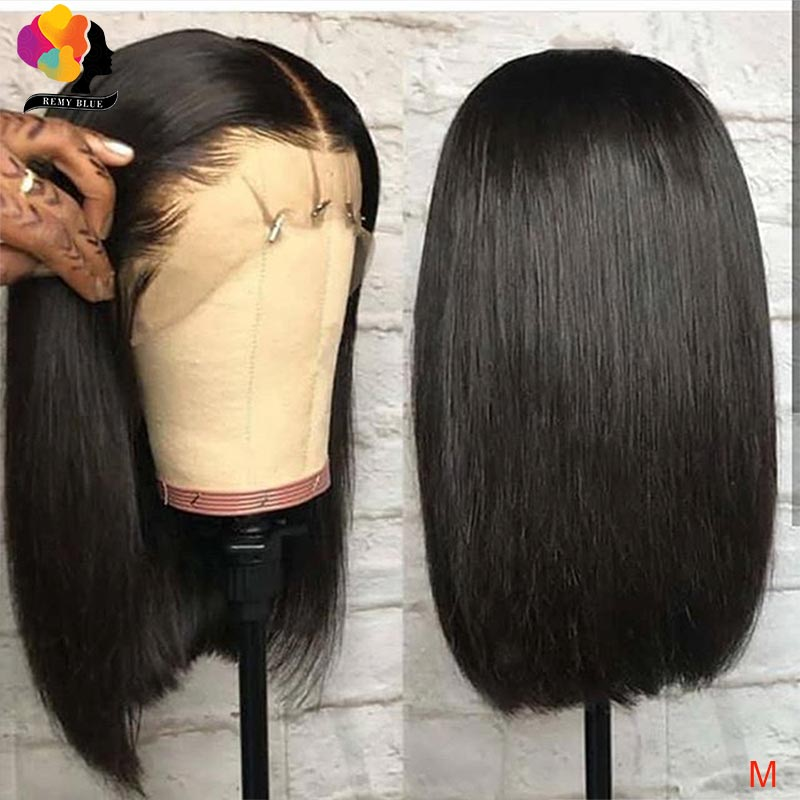 Remyblue 13*4 Inches Bob Lace Frontal Wigs Bob Peruvian Human Hair Wigs Straight Remy Hair Pre Plucked Hairline With Baby Hair