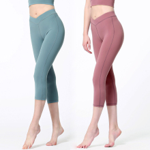 Yoga Pants Seamless Gym Workout Sport Leggings Fitness Cropped Trousers Women Soild Calf Length Tights Sportswear