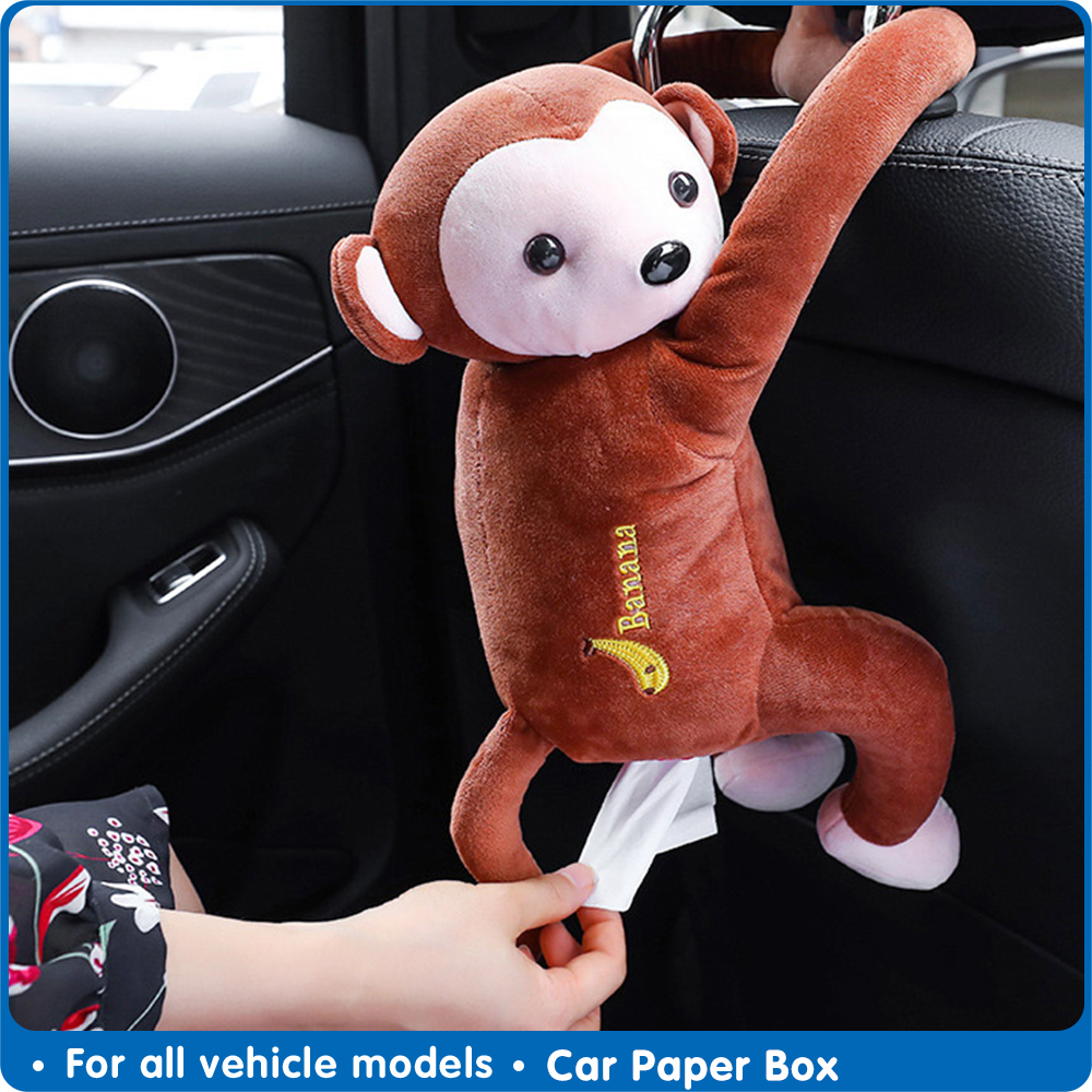 Car Tissue Box Monkey Tissue Holder Car Napkin Holder Cartoon Tissue Box Creative Car Paper Box Automobile interior Accessories