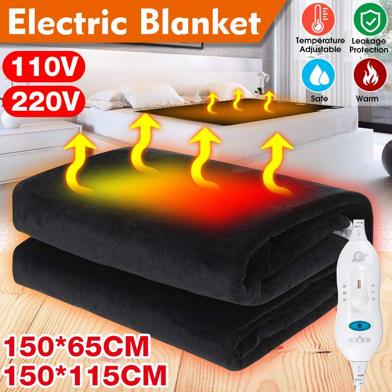 150x65/150x115cm 110V/220V Electric Blanket Thicker Heater Double Body Warmer Heated Blanket Thermostat Electric Heating Blanket