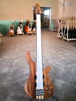 5 string neck through hickory wood top active bass guitar 43 inch solid okoume wood body natural color electric bass guitar