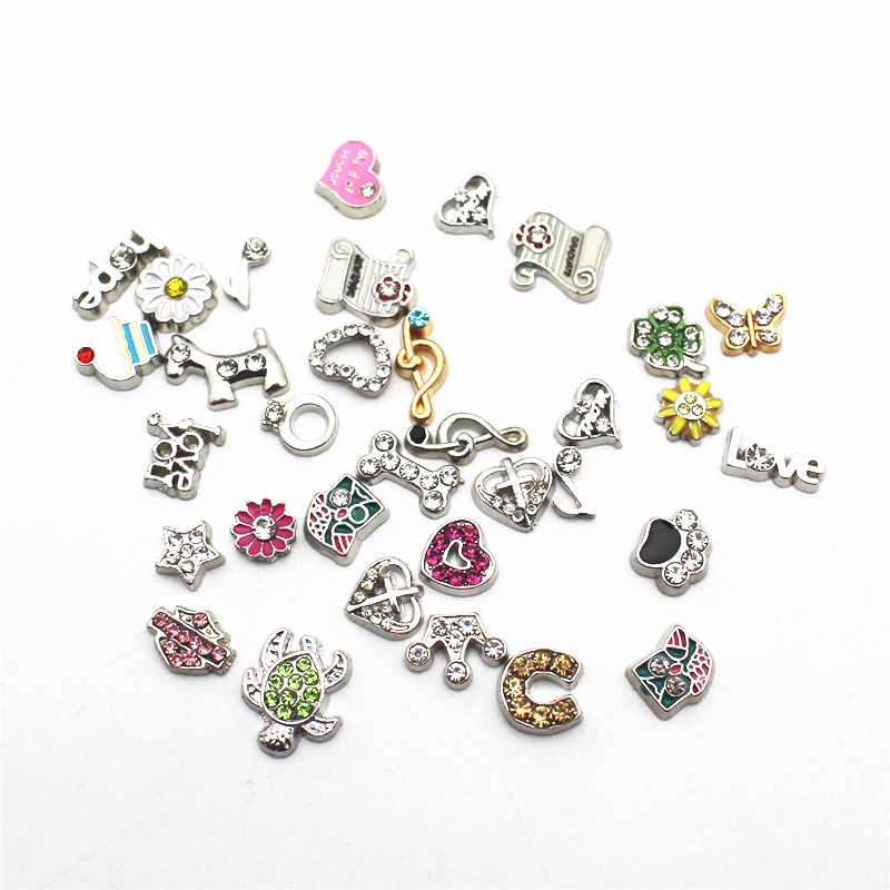 Mix 12pcs/lot crystal Charms ceram heart Floating Charms for Floating Memory charms Lockets DIY Jewelry