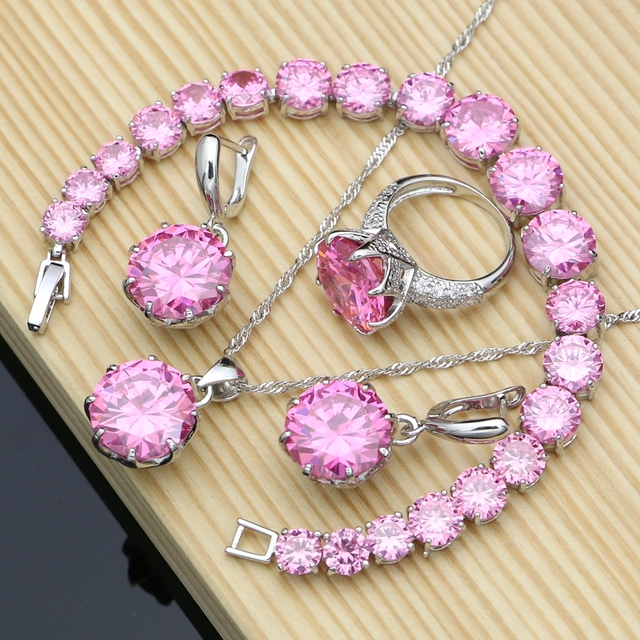 Silver 925 Jewelry Big Pink Cubic Zirconia Costume Jewelry Sets For Women Earrings With Stones Ring Necklace Set Dropshipping
