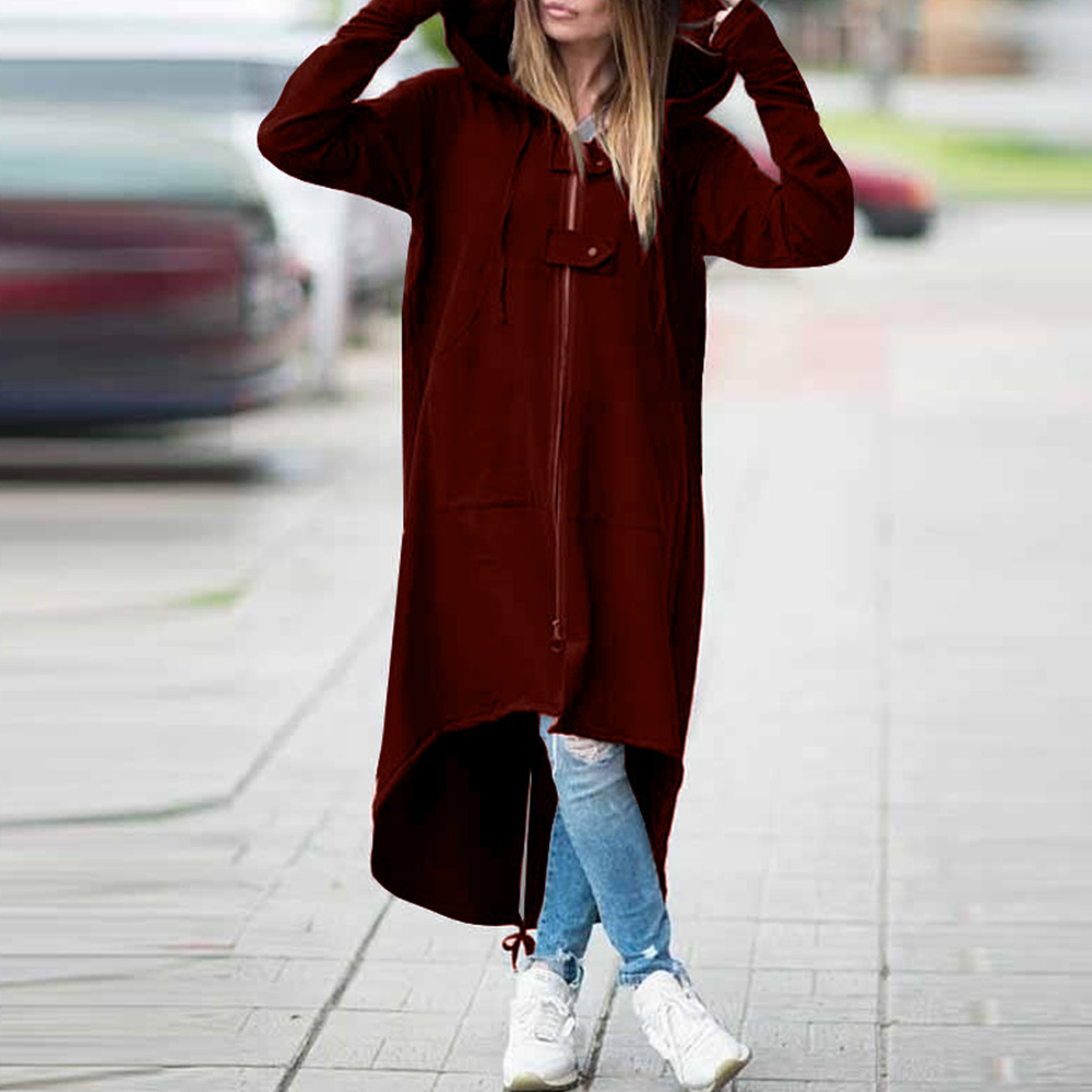 Fashion   Trench   Coat for Women Autumn Long Coat Woman Hooded   Trench   Zipper Overcoat Female Clothes Windbreaker Outwear
