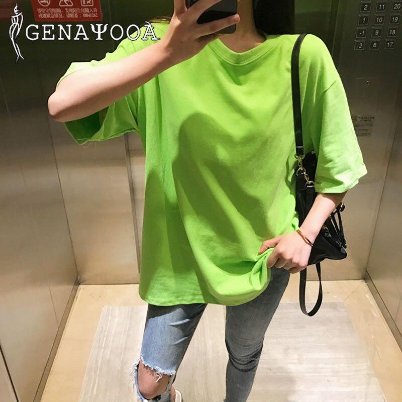 Genayooa 11 Farben T Shirt Frauen Baumwolle Harajuku Koreanische Sommer T-shirt Tops Plus Größe 3XL T Shirt Femme 2020 T-shirt frauen
