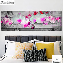 Diamond Painting Cross Stitch Pink White orchid 5D Diamond Embroidery Mosaic Flowers full square round drill large Size T16