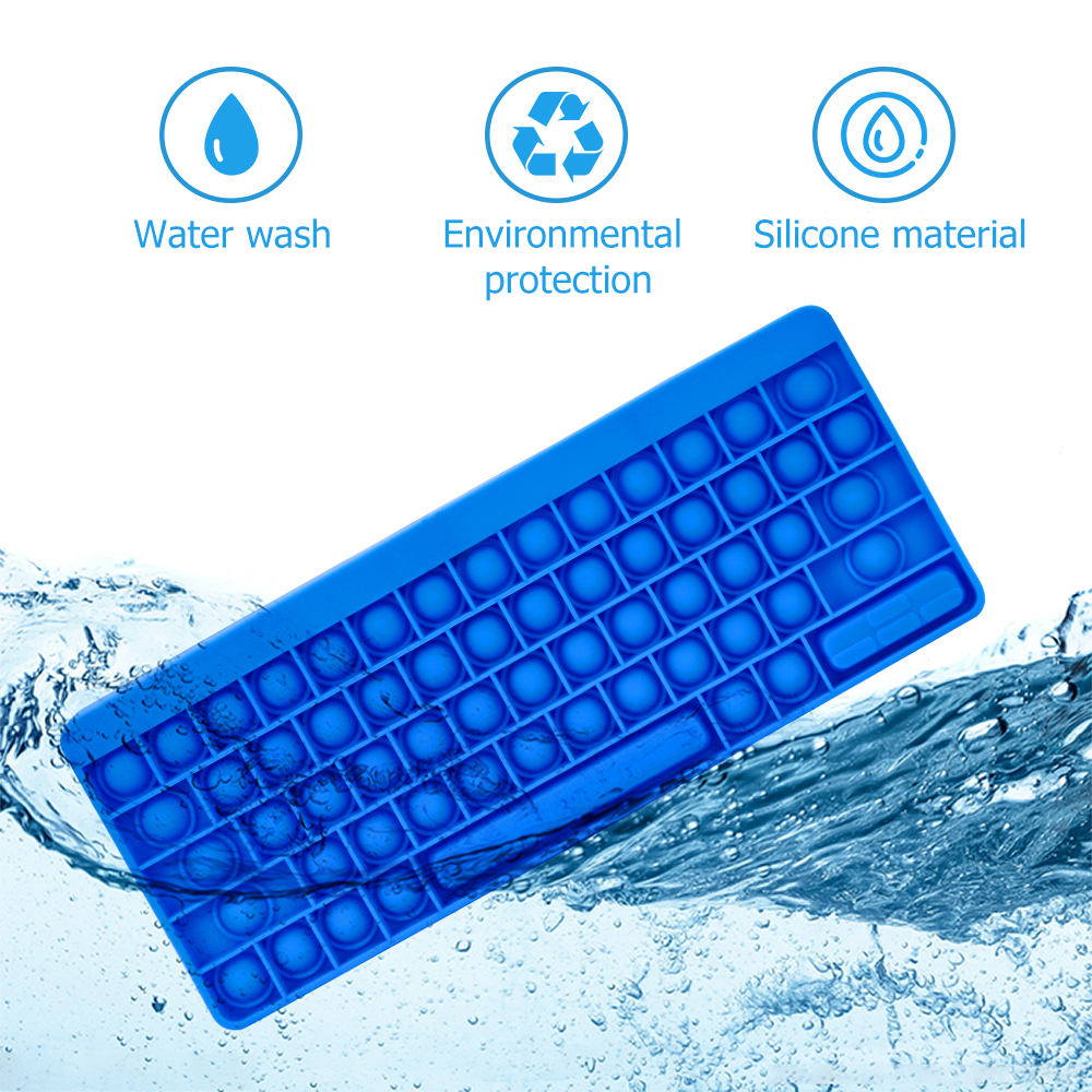 New Pop Push Bubbles Keyboard Fidget Toys Multi-color With Words for Children Desktop Relieve Stress or Anti-stress Silicone Toy