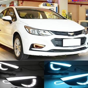 2PCS LED Daytime Running Light For Chevrolet Cruze 2016 2017 2018 Dynamic Yellow Turn Signal Relay Waterproof Car 12V DRL Lamp