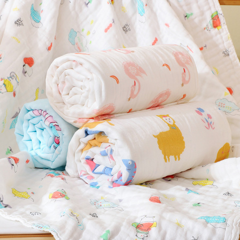 Muslin Swaddle Baby Blankets 100% Cotton Swaddle Wrap for Newborn Babies 6 Layer Bath Towel Blanket Baby Bedding blanket 110*110 Lahore