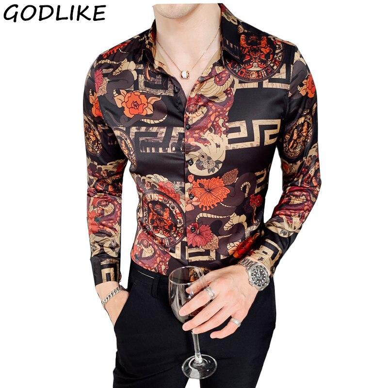 2019 Autumn Flower Shirt Mens Club Long Sleeve Shirt Slim Fit Fancy Shirts Casual Shirts Men Camisa Social Masculina