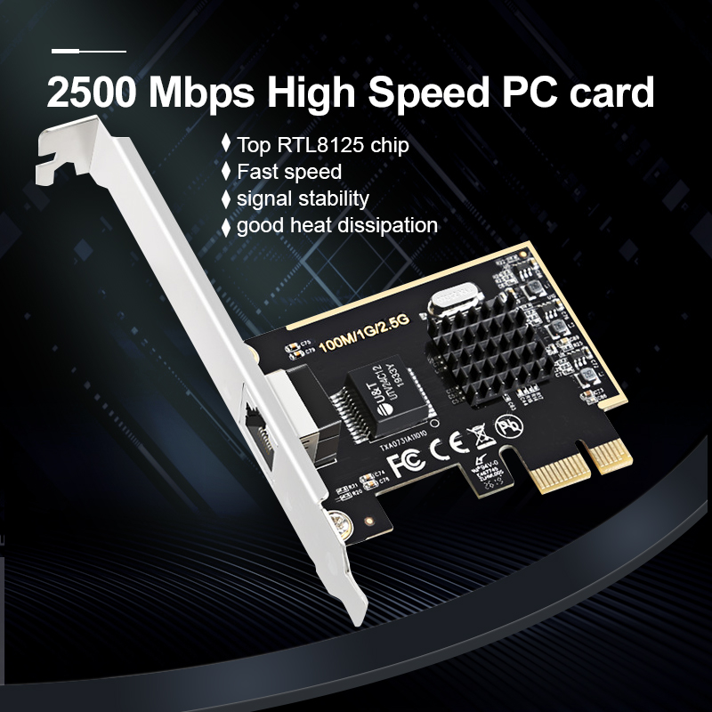 Game PCIE Card 2500Mbps Gigabit Network Card 10/100/1000Mbps RTL8125 RJ45 Wired Network Card PCI-E 2.5G Network Adapter LAN Card