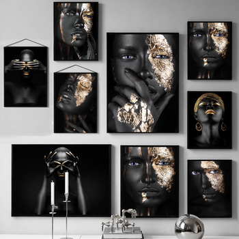 Black Gold Woman Oil Painting African Art on Canvas Cuadros Posters and Prints Scandinavian Wall Art Picture for Living Room image