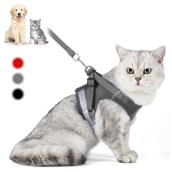 Cat Harness And Leash Set Adjustable Reflective Cat Harness Soft Padded Harness Vest 1
