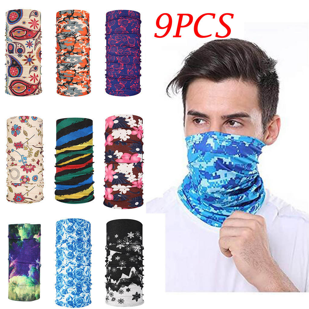Scarf Women 9PCS Magic Scarf Outdoor Headwear Bandana Sport Tube UV Face Mask Workout Hiking Protection Scarf Men 2020