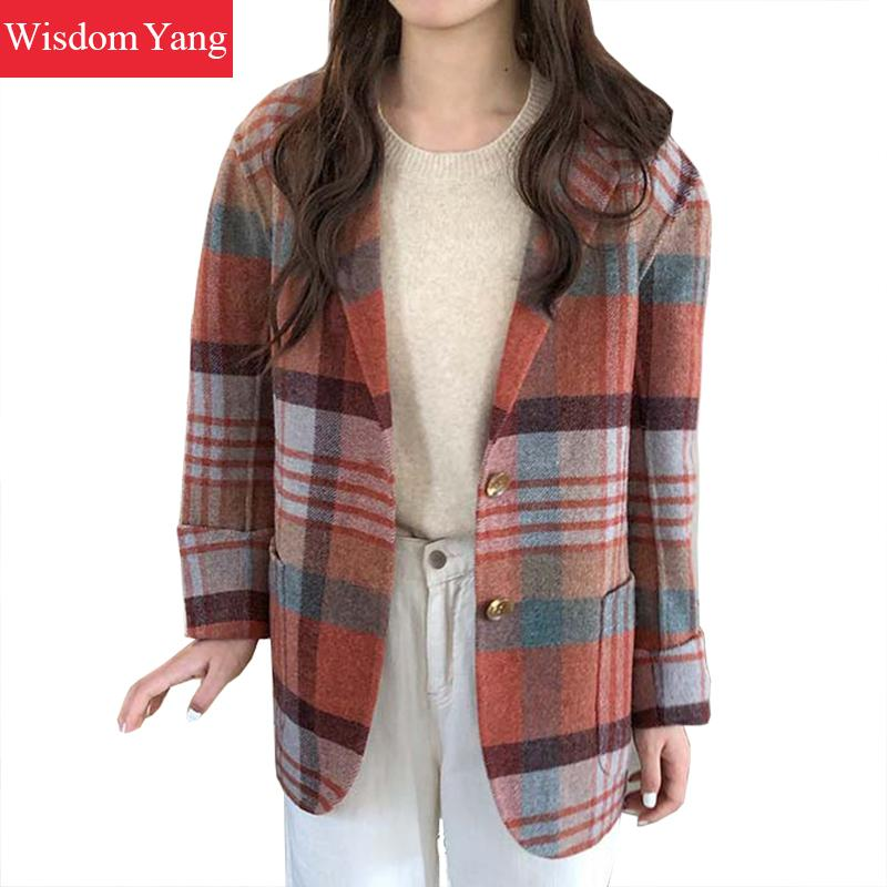 Winter Real Fur Wool Cashmere Coat Jackets Suit Womens Woolen Coats Grey Plaid Oversized Ladies Woollen Overcoat Coat Outwear